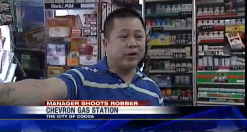 Convenience Store Owner Defends Himself Against Armed Robber